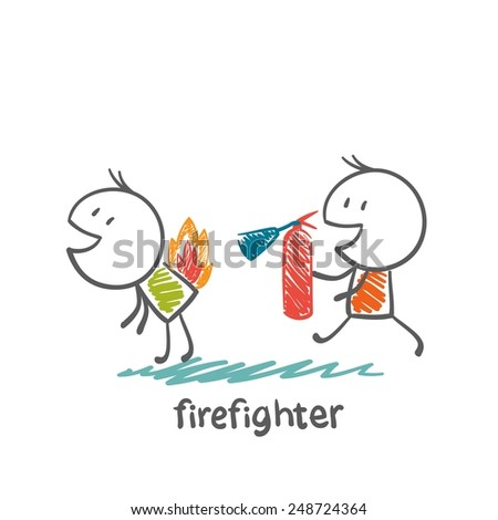 firefighter extinguish a fire extinguisher human illustration - stock vector