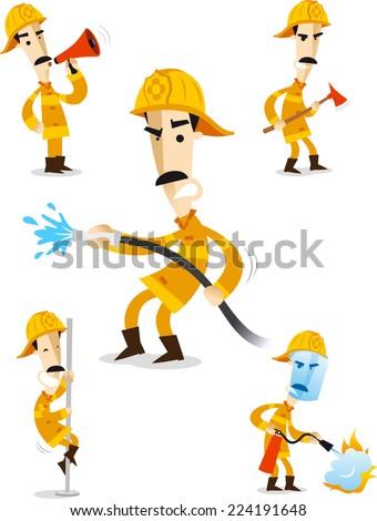 Firefighter Fire Hose Fireman Uniform Flame, vector illustration cartoon.  - stock vector
