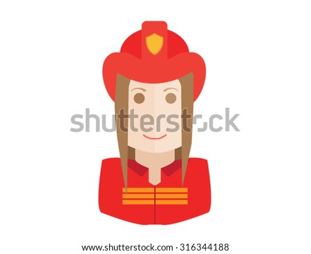 Firefighter, fireman icon. Avatar and person illustration. Flat colored outlined style.