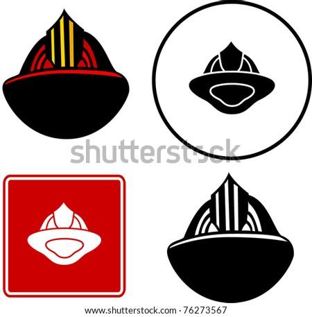 firefighter helmet illustration sign and symbol - stock vector