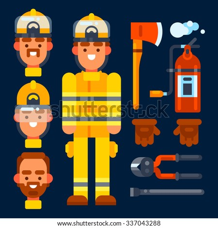 Firefighter his stuff: fire axe, fire extinguisher, gloves,wirecutter, crowbar. Vector flat illustration. Isolated objects. - stock vector