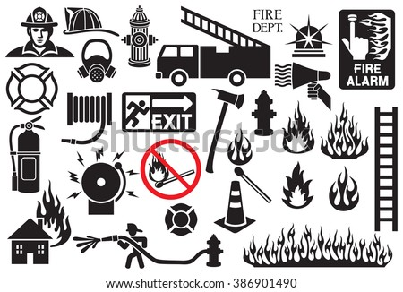 firefighter icons and symbols collection (fire department icons) - stock vector