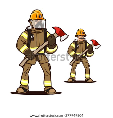 firefighter in mask standing with the firefighter axe - stock vector