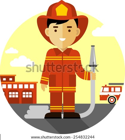 Firefighter in uniform on background with fire truck and fire station - stock vector