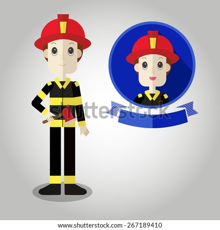 firefighter Mascot cartoon great for any use. Vector EPS10. - stock vector
