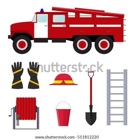 Firefighter Profession Equipment And Tools Flat Design Style Vector Illustration Of Fire Truck