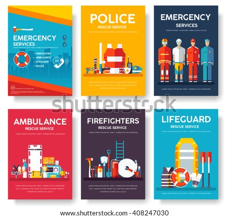 Firefighter, rafting, police, medicine rescue cards template set. Flat design icon of flyear, magazines, posters, book cover, banner. Emergency services layout concept pages with typography background - stock vector