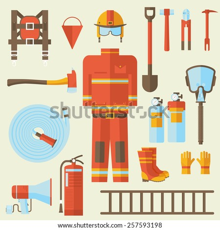 firefighter uniform and first help equipment and instruments. On flat style background concept. Vector illustration for colorful template for you design, web and mobile applications - stock vector