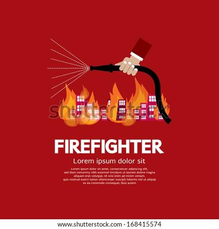Firefighter Vector Illustration - stock vector