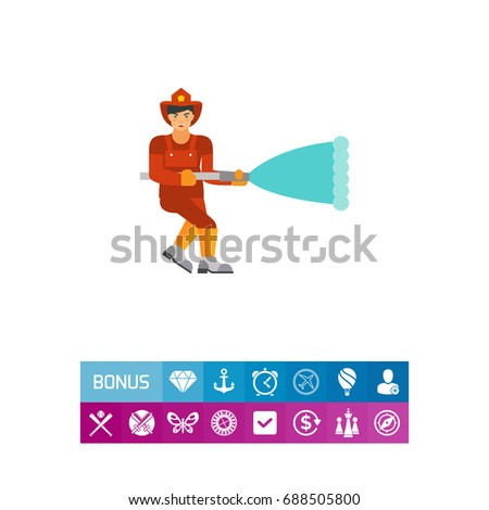 Firefighter with hose icon