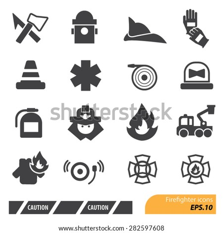 Firefighters icons set,Vector