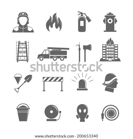 Firefighting black silhouette icons set of fire protection equipment isolated vector illustration. - stock vector