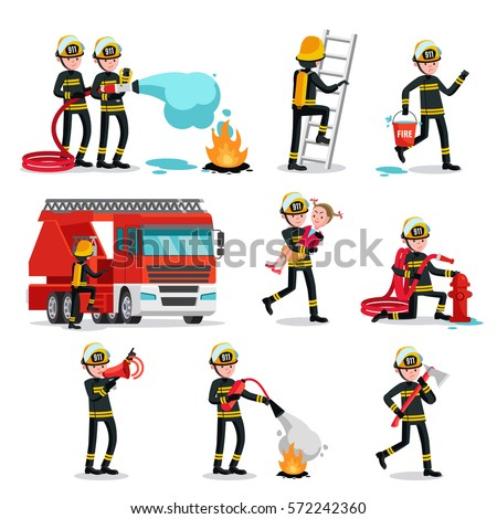 Firefighting colorful icons set of fireman with rescue equipment in different situations isolated vector illustration