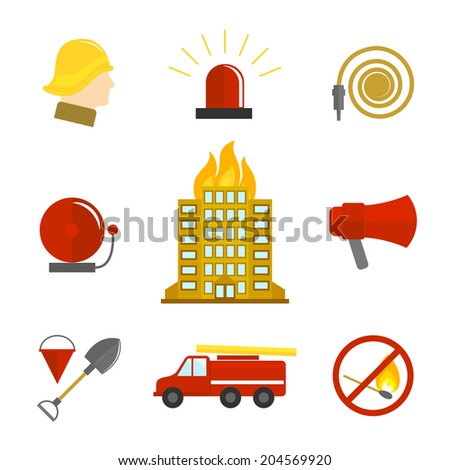 Firefighting icons flat set of burning building fire alarm water hose isolated vector illustration. - stock vector