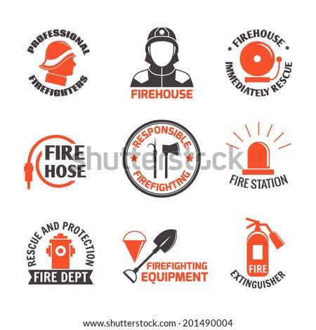 Firefighting professional firehouse immediately rescue label set isolated vector illustration. - stock vector