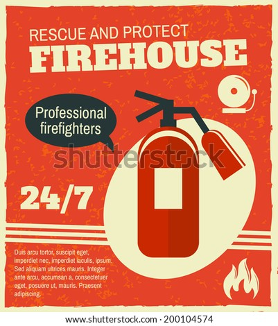 Firefighting rescue and protection professional firefighters poster with fire extinguisher vector illustration - stock vector