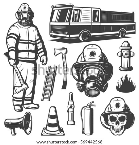 Firefighting vintage elements set with fireman in uniform fire truck skull and rescue equipment isolated vector illustration