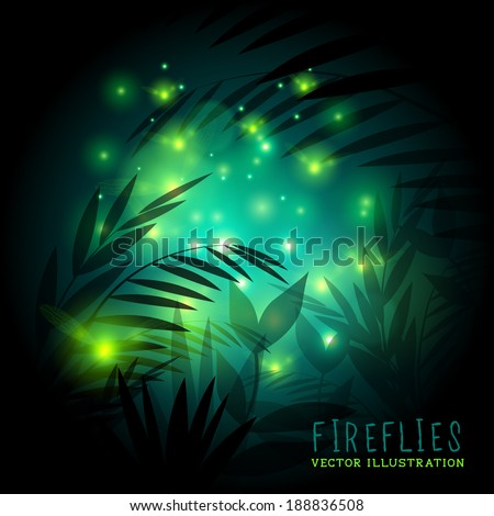 Fireflies in the forest at night - vector illustration. - stock vector