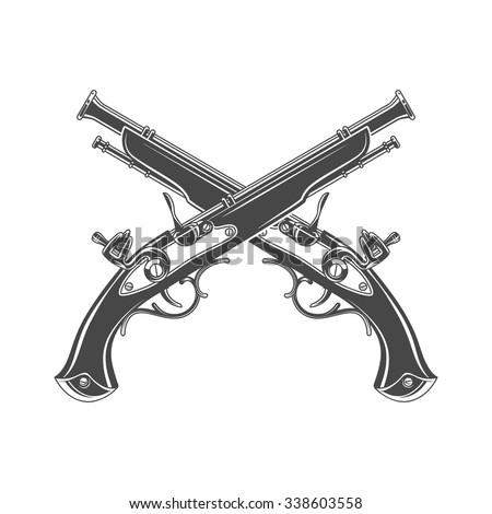 Firelock musket vector. Armoury logo template. Victorian t-shirt design. Steampunk pistol insignia concept.  - stock vector