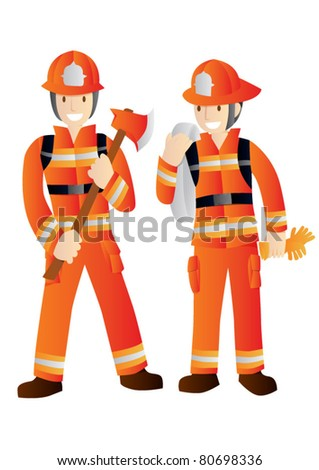 Fireman - stock vector