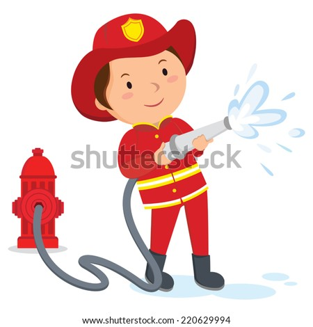 Fireman. A fireman spraying a water hose.