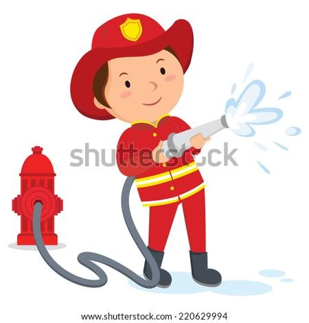 Fireman. A fireman spraying a water hose. - stock vector
