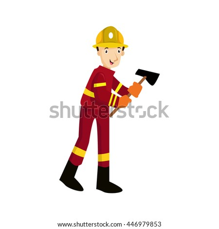 Fireman,and firefighter isolated firefighter helmet, safety service, danger and rescue, uniform protection illustration