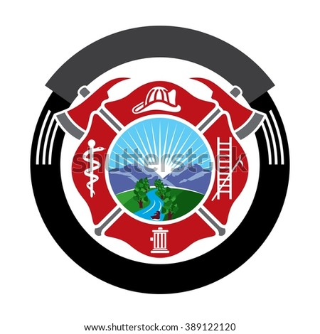 fireman emblem fire department symbol logo stock vector 2018 rh shutterstock com fire department logo vector download fire department logo vector free download