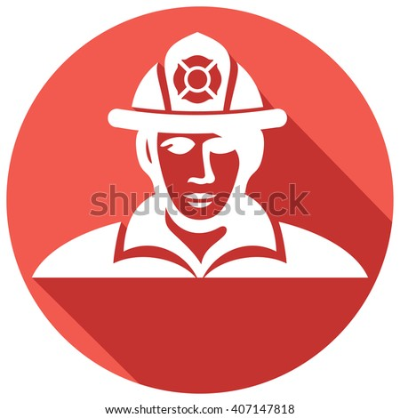 fireman flat icon (fire fighter) - stock vector