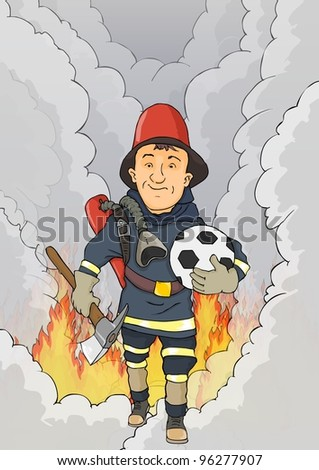 Fireman happy to come out of the flame - stock vector