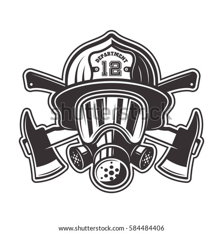fireman head helmet gas mask two stock vector royalty free