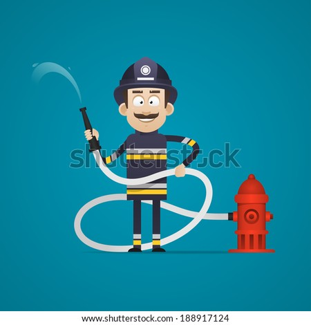 Fireman holds fire hose and smiling - stock vector