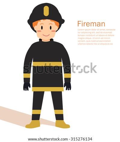 Fireman in uniform. Profession. Vector isolated illustration. Cartoon character  - stock vector