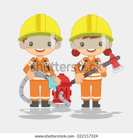 fireman, man and woman - stock vector