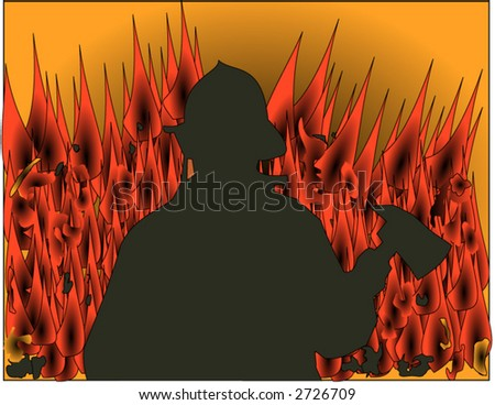 Fireman silhouette with flames in the background vector - stock vector