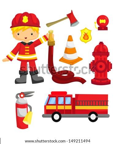 Fireman Vector set - stock vector
