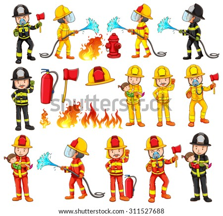 Firemen and equipments set illustration