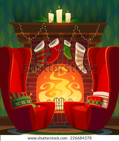 Fireplace. Christmas card \ poster \ banner. Vector illustration. - stock vector