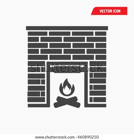 fireplace icon - stock vector
