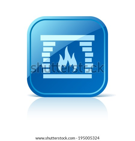 Fireplace icon on blue web button - stock vector