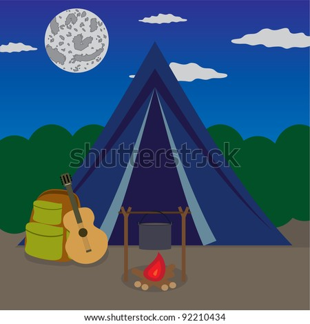 Fireplace near tent in forest at the night. - stock vector
