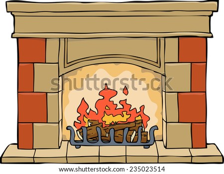 Fireplace on a white background vector illustration - stock vector
