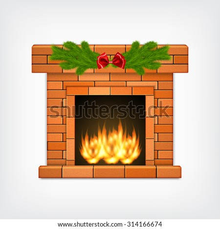 Fireplace with christmas decoration. Vector icon. EPS10