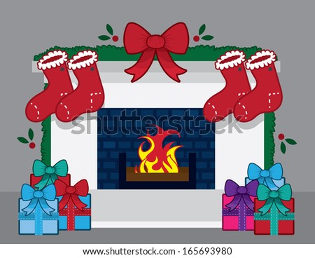 Fireplace with christmas decorations and stockings