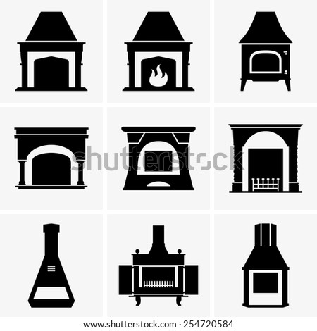 Fireplaces - stock vector