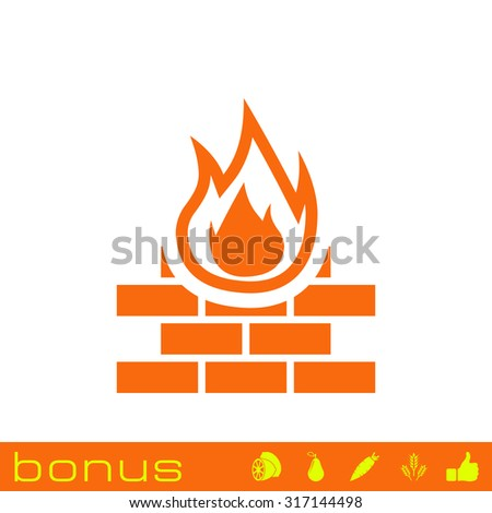 firewall protection icon - stock vector