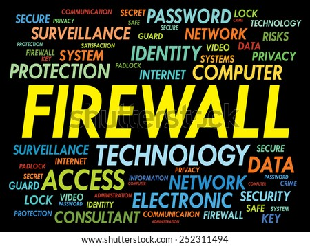 FIREWALL word cloud, security concept - stock vector