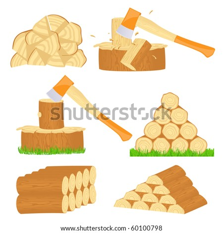 Firewood chop icons, vector illustration