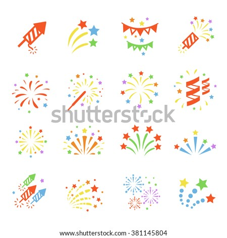 Firework color icon set with  burst petard, stars. Festival  celebrate and party.  - stock vector
