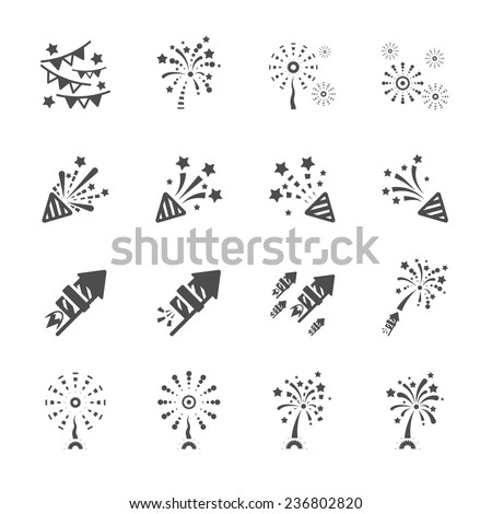 firework icon set 3, vector eps10. - stock vector
